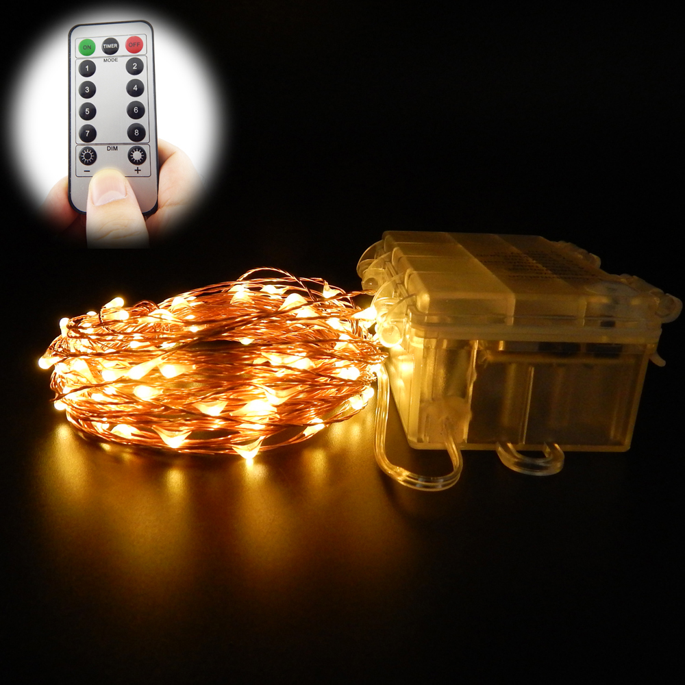 10m 100 leds 33ft 8 modes waterproof warm white battery operatedled string lights fairy lights christmas