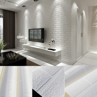 10m Brick pattern 3D White Textured Non-woven Flocking Wallpaper Wall Paper Roll