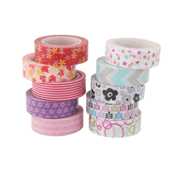 10pcs 10m Colorful Washi Tape DIY Adhesive Paper Sticker 1.5cm