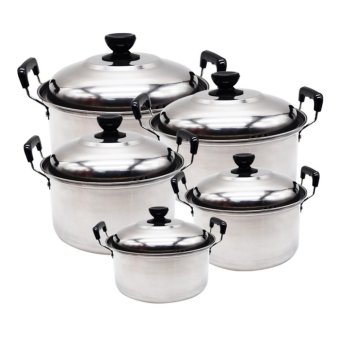 10pcs American Style Stainless Steel High Pot Kitchenware Set