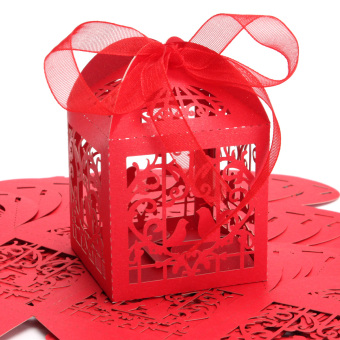 10pcs Birdcage Wedding Party Sweets Cake Favour Candy Gift Chocolate Box Red - Intl