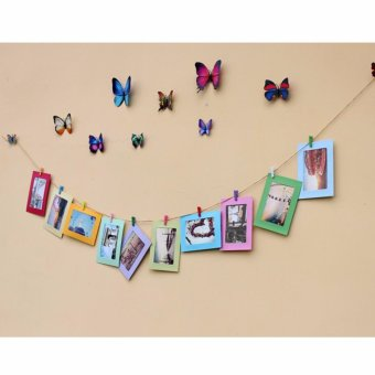 10Pcs DIY Paper Photo Picture Frames Clips Hanging Rope Album Card Wall Decor - intl - 3