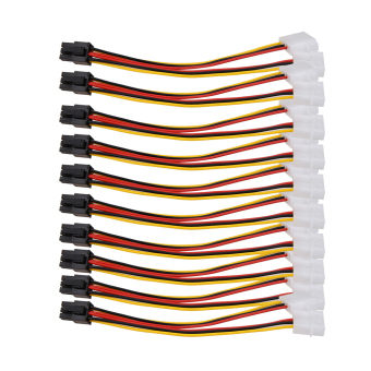 10PCS Molex (4 Pin) to PCI-E (6 Pin) Power Converter Adapter Connector