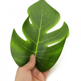 12Pcs 8'' Imitation Plant Leaves Hawaiian Luau Party Jungle BeachTheme Decorations for Birthdays Prom Events (green) - intl - 2