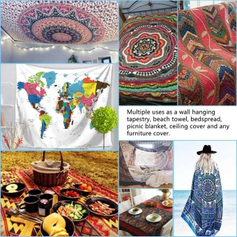 130*150cm Polyester Home Wall Hanging Decor Art Foreign World Map Exotic Printing Tapestry Beach Throw Towel Blanket Picnic Carpet Bedspread Tablecloth - intl - 2