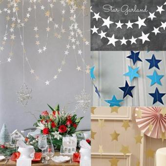 13ft Long Star String Paper Garland color:Gold size:4m - intl - 2