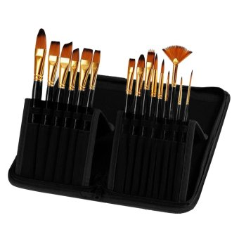 15 Pcs Multi-functional Wooden Handle Nylon Hair Artist WatercolorOil Painting Brush Pen Set with Canvas Storage Bag