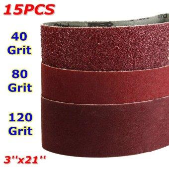 15x Mix 3'' x 21'' Sanding Belts Aluminium Oxide 40/80/120 Grits Sander Abrasive - intl - 5