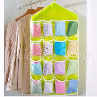16 Pockets Clothes Storage Bag for Shoes Socks Organizer WardrobeHanging Jewelry Bags (PINK) - 2