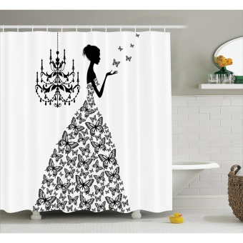 165x183cm Butterflies Princess Retro Parisienne Chic Girls BathShower Curtain / 100% Polyester Waterproof Fabric Curtain - intl