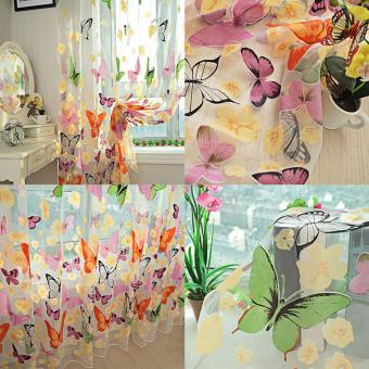 1pc Colorful Butterfly Printing Curtain Organdy Panel - 5
