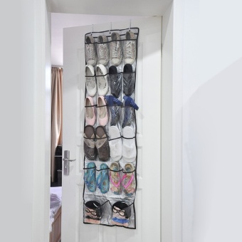 1pc Multi-purpose Shoes Organizer Storage Bag Transparent Hanging Closet Foldable Door Hanging Shoes Storage Box