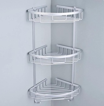 1Pcs Aluminium Hanging Bathroom Shower Accessories Corner StorageShelf Rack Holder 3 Tier - intl