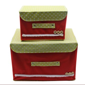 2 in 1 Foldable Cloth Storage with Handle Organizer Set of 2(Red) - 2