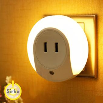 2 in 1 LED Dusk till Dawn Sensor Night Light and Dual USB port wall charger