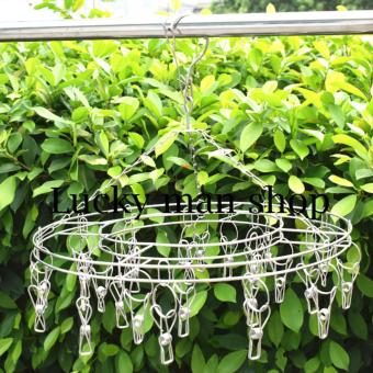 2 pcs AS SEEN ON TV 20 Clips Stainless Steel Round Clothes Drying Rack Socks/Shorts/Bra/Underwear Drying Hanger (Silver)