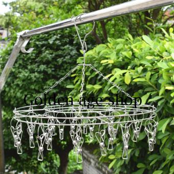2 pcs set AS SEEN ON TV 20 Clips Stainless Steel Round ClothesDrying Rack Socks/Shorts/Bra/Underwear Drying Hanger (Silver)