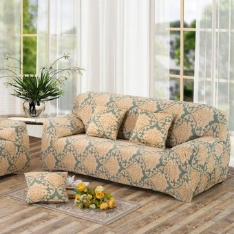 2 Seater Flower Fit Stretch Sofa Slipcover Couch Damask Fabric Protector Set - intl