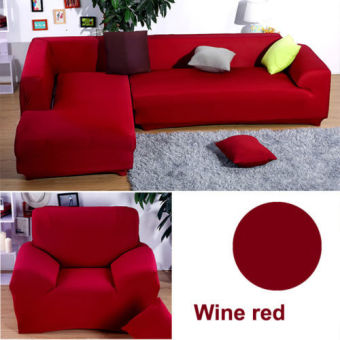 2 Seater L Shape Loveseat Chair Stretch Sofa Couch Protect Cover Slipcover Wine red-Only Sofa Cover