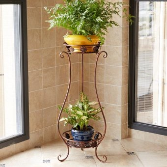 2-Tier Metal Balcony Fower Pots Shelf Garden Flower Stands HolderPlant Flower Pergolas Metal Iron Flower Shelf (black+white) - intl - 3