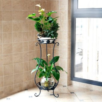 2-Tier Metal Balcony Fower Pots Shelf Garden Flower Stands HolderPlant Flower Pergolas Metal Iron Flower Shelf (black+white) - intl - 2