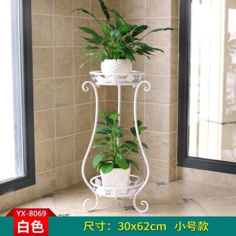 2-Tier Metal Balcony Fower Pots Shelf Garden Flower Stands HolderPlant Flower Pergolas Metal Iron Flower Shelf (black+white) - intl - 5