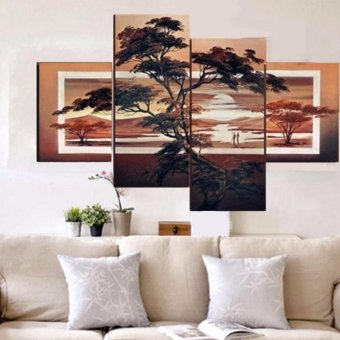 20 x 30cm&20 x 50cm Large Modern Abstract Pine Sunset Art Oil Painting Wall Decor Canvas NO Frame - intl
