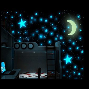 200PCS Stars Glow In The Dark Stickers Wall Decal Kids Baby Home Bedroom  Decor   Intl