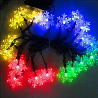 2017 New arrive 20 LEDs 4.8m Snow Flake Flowers Solar Powered String Fairy Lights Waterproof Outdoor Solar String Lights Decorated Garden Festival(Multi-color) - intl - 5