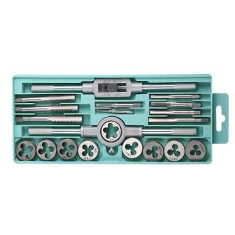 20pcs HSS 4341 High Speed Steel Tap Die Set Metric Taps Dies Adjustable Tap Die Holder Threading Tools with Plastic Case - intl