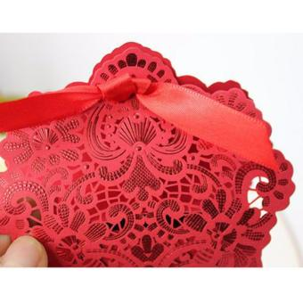 20sets Wedding favors Red Elegant Lace Design Wedding/Events/Party/Special Occasion Paper Favor Box with Ribbon Gift Box - 2