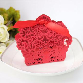 20sets Wedding favors Red Elegant Lace Design Wedding/Events/Party/Special Occasion Paper Favor Box with Ribbon Gift Box - 4