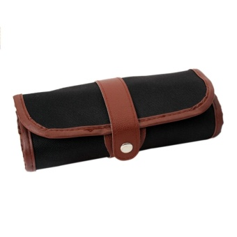 24 Holes Canvas Wrap Roll Up Pencil Bag Pen Case Holder StoragePouch - intl Price Philippines