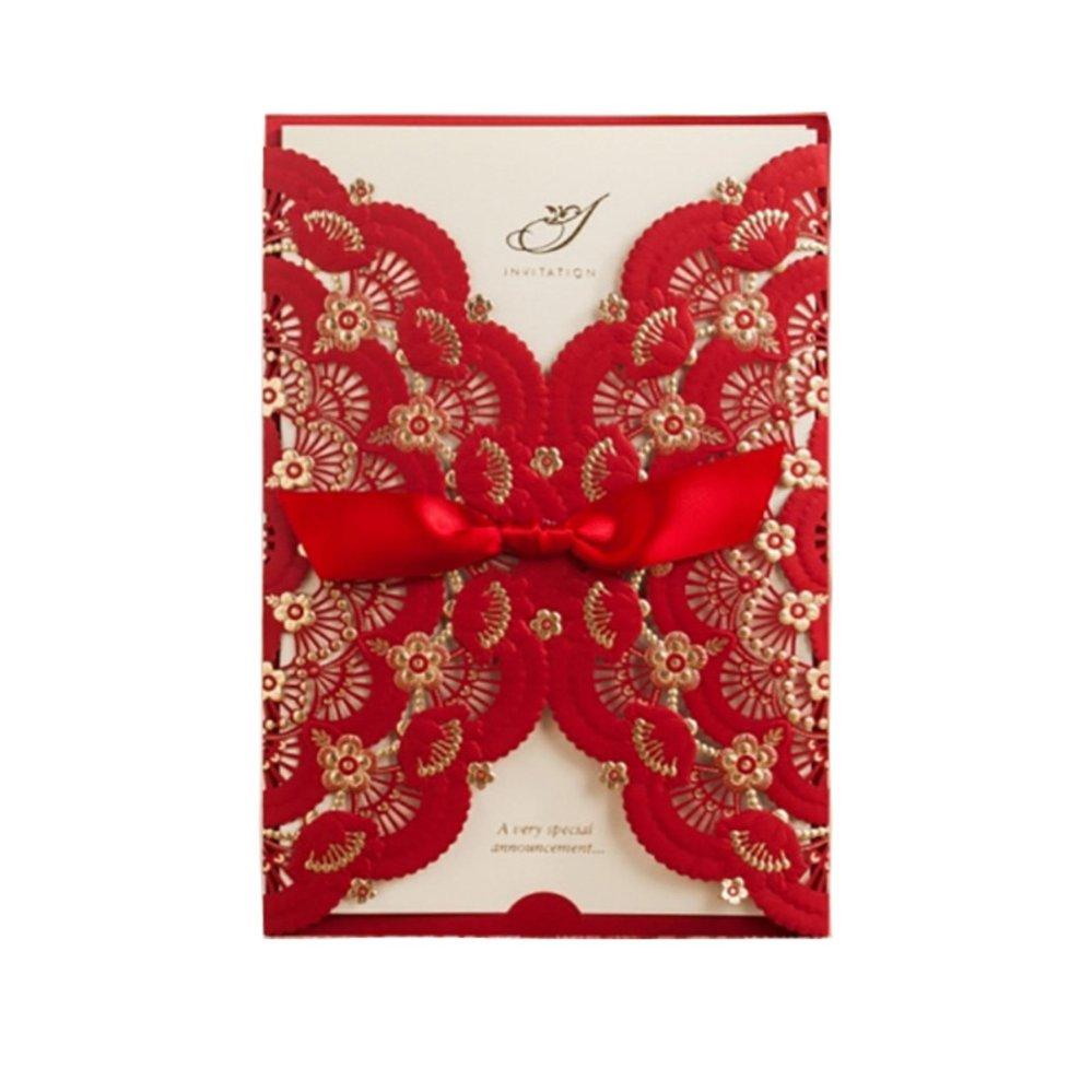 Philippines   24pcs/lot Elegant Red Lace Flower Invitation Cards ...