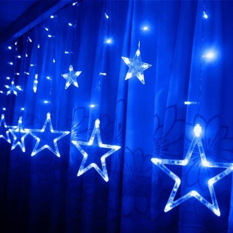 2m x 1m 138 LEDs Curtain Light 12-Star Curtain Light Fairy Light for Window Decoration Christmas Party Birthday Party(Blue) - picture 2