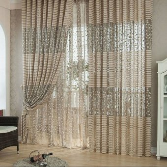 2PCS 1M*2M Elegant Window Door Curtains Sheer Voile Tulle for Bedroom Living Room Balcony Kitchen Hotel Decoration Jacquard Flower Pattern Sun-shading Curtain Home Textile
