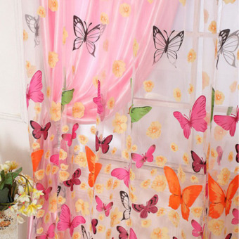 2PCS 1MX2M Romantic Washable Window Door Curtains Sheer Voile Tulle for Bedroom Living Room Balcony Kitchen Shop Decoration Colorful Printed Butterfly Flower Pattern Sun-shading Curtain Home Textile Decor (Intl) - 2