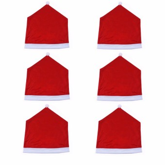 2PCS 6x Christmas Chairs Back Cover Dinner Table Santa Hat Home Party Xmas Decor Gift - intl - 2