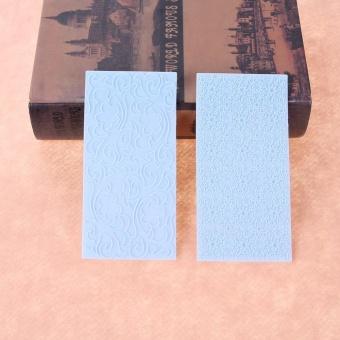 2pcs Moulds Gum Paste Impression Mat Fondant Cupcake Wedding CakeDecor (Blue) - intl - 4