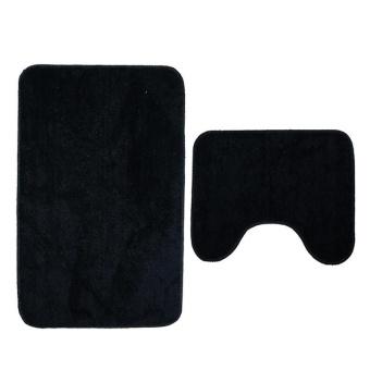 2Pcs Set Solid Color Bath Mat Toilet Non Slip Bathroom Rug Waterproof Floor Carpet - intl - 2