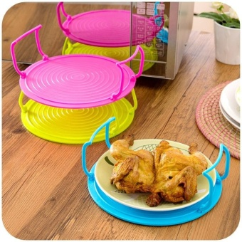 3 In 1 Microwave Tray Multifunctional Plate Foldable InsulationSteam Rack Plastic Cover by LuckyG - intl - 2