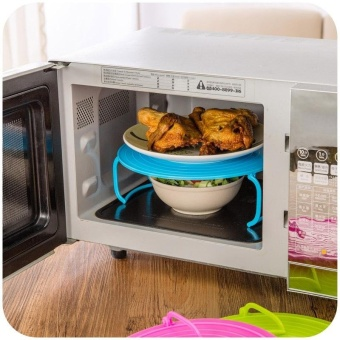 3 In 1 Microwave Tray Multifunctional Plate Foldable InsulationSteam Rack Plastic Cover by LuckyG - intl - 3