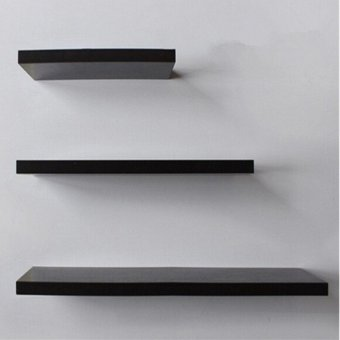 3 Pack 30+40+50cm DIY Wooden Sky Floating Wall Shelves (Black) -INTL - 4