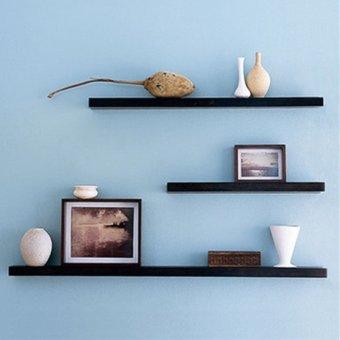 3 Pack 30+40+50cm DIY Wooden Sky Floating Wall Shelves (Black) -INTL - 2