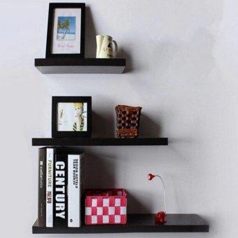 3 Pack 30+40+50cm DIY Wooden Sky Floating Wall Shelves (Black) -INTL - 3
