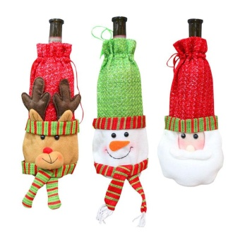 3 PCS Christmas Snowman Santa Claus Elk Shaped Red Wine BottleCover Bag Christmas Party Decorations Gift Candy Bags - intl