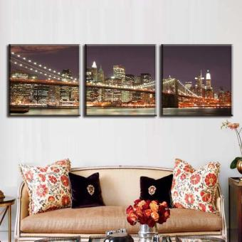 3 Pcs/Set Classic Night Brooklyn Bridge Landscape Canvas Print Modern Wall Paintings With Frame Wall Art Picture Home Decoration(No Frame) - 4
