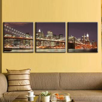 3 Pcs/Set Classic Night Brooklyn Bridge Landscape Canvas Print Modern Wall Paintings With Frame Wall Art Picture Home Decoration(No Frame) - 5
