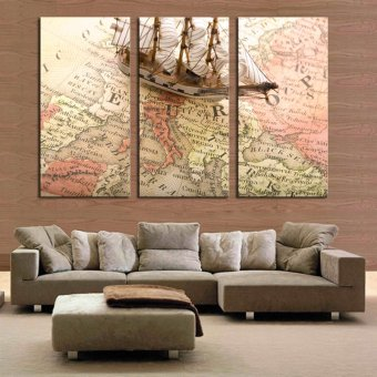 3 Piece Abstract Map Ship Modern Home Wall Decor Canvas Picture ArtHD Print Painting On Canvas Artworks (No frame)