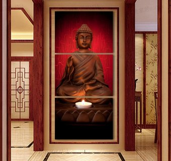 3 Piece Canvas Art Modern Printed Buddha Painting PictureDecoracion Buddha Paintings Wall Canvas Pictures For Living Room(No Frame) - 2